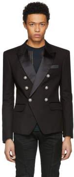 Balmain Black Cotton Six-Button Blazer