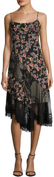 ABS by Allen Schwartz Women's Pleated Floral Print And Lace Slip Dress