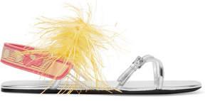 Prada Feather-embellished Metallic Leather Sandals - Silver