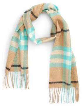 Burberry Exploded Giant Check Fringe Cashmere Scarf