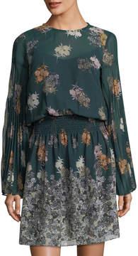 Donna Morgan Floral Smocked-Waist Chiffon Dress