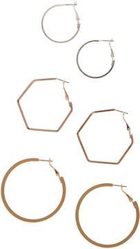 Carole Tri-Tone Hoop Earrings Set