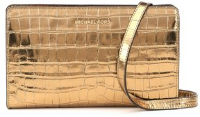 MICHAEL Michael Kors Metallic Crocodile-Embossed Large Cross-Body Clutch - GOLD - STYLE
