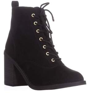 Material Girl Mg35 Landrey Lace Up Booties, Black.