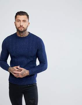 Pull&Bear Cable Knit Sweater In Navy Nep