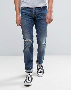 Edwin ED-80 Slim Tapered Jeans Contrast Dark Wash Rips
