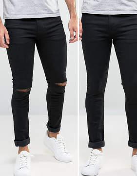 Asos Super Skinny Jeans 2 Pack In Black & Black With Knee Rips SAVE