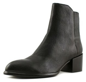 Calvin Klein Jeans Nenita Pullup Women Round Toe Leather Black Ankle Boot.