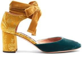 Rochas Block-heel velvet and brocade pumps