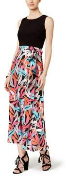 Nine West Black Pink Abstract Print Women's 18 Belted Maxi Dress