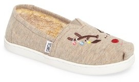 Toms Girl's Classic Reindeer Embroidered Slip-On