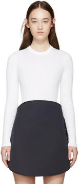 Courreges White Rib Knit Bodysuit