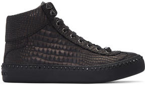 Jimmy Choo Gunmetal Croc-Embossed Argyle High-Top Sneakers