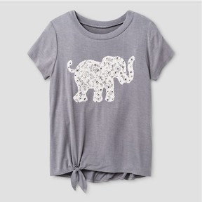 Miss Chievous Girls' Short Sleeve Top with Twist Front & Elephant Applique - Gray