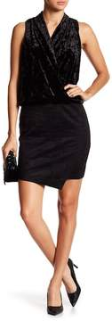 Fifteen-Twenty Fifteen Twenty Front Drape Asymmetric Crushed Velvet & Faux Suede Dress