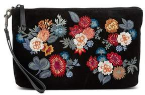 Lucky Brand Super Bloom Floral Embroidered Suede Clutch