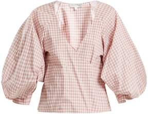 Caroline Constas Josie gingham-print puff-sleeved cotton top