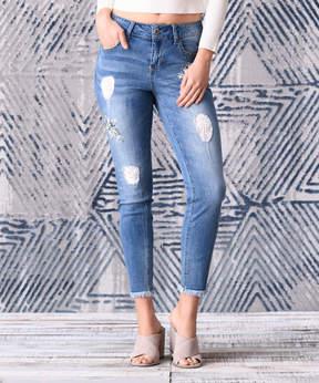 Seven7 Emma Distressed Lace Patch Frayed Hem Jeans - Women