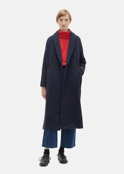 Blue Blue Japan Wool Double Breasted Coat Navy Size: Medium
