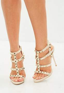 Missguided Cream Studded Gladiator Heeled Sandal