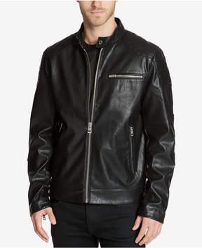 GUESS Men's Faux-Leather Moto Jacket