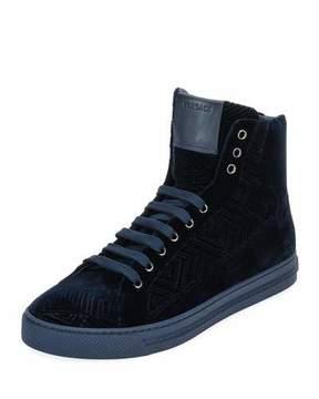 Versace Men's Greca Velvet High-Top Sneakers, Navy