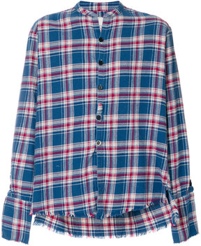 Greg Lauren collarless plaid shirt