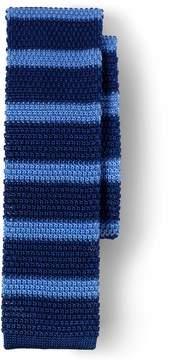 Lands' End Lands'end Men's Silk Melange Stripe Knit Necktie