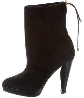 Barbara Bui Suede Round-Toe Ankle Boots