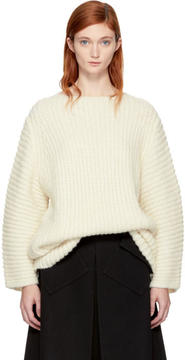 LAUREN MANOOGIAN SSENSE Exclusive White Fisherman Tunic Sweater