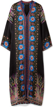 Etro Embroidered Printed Silk-satin Kaftan - Black