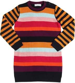 Sonia Rykiel Striped Wool Blend Knit Sweater Dress