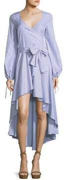 Caroline Constas Lena High-Low Long-Sleeve Striped Poplin Dress