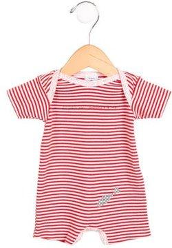 Petit Bateau Girls' Striped Short Sleeve All-In-One