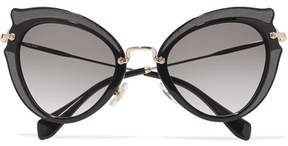 Miu Miu Embellished Cat-eye Acetate And Gold-tone Sunglasses - Black