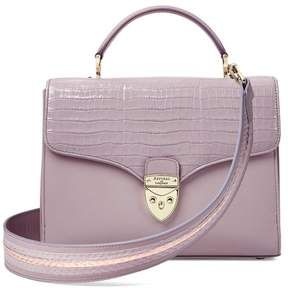 Aspinal of London Mayfair Bag In Deep Shine Lilac Small Croc Smooth Lilac With Stripe Strap