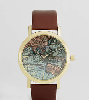 Reclaimed Vintage Inspired Map Leather Watch In Brown Exclusive To ASOS