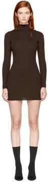 Balmain Brown Buttoned Turtleneck Dress