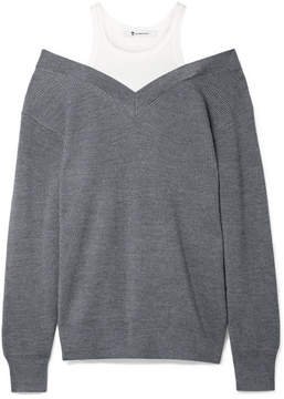 Alexander Wang Off-the-shoulder Layered Ribbed Merino Wool-blend And Cotton Sweater - Charcoal
