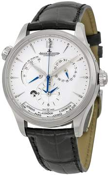 Jaeger-LeCoultre Jaeger Lecoultre Master Geographic Silver Dial Black Leather Men's Watch