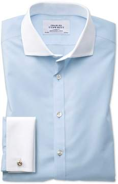 Charles Tyrwhitt Extra Slim Fit Spread Collar Non-Iron Winchester Sky Blue Cotton Dress Shirt French Cuff Size 15.5/33