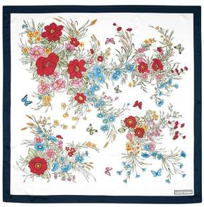 Aspinal of London Bouquet Of Flowers Silk Scarf In Midnight Blue