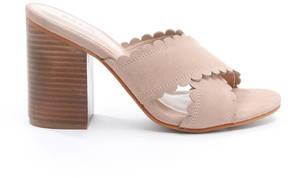 Mia Scalloped Slip On Mule Heels