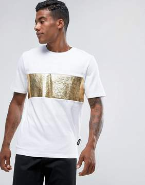 Jaded London T-Shirt In White With Gold Foil Panel