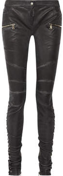 Balmain Lace-up Leather Skinny Pants - Black