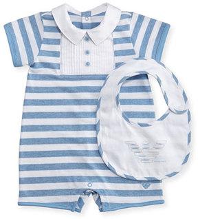 Armani Junior Striped Jersey Polo Shortall w/ Bib, Blue, Size 3-12 Months