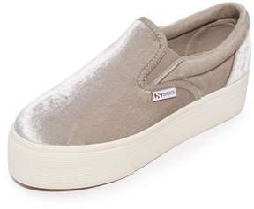 Superga 2314 Velvet Platform Slip On Sneakers