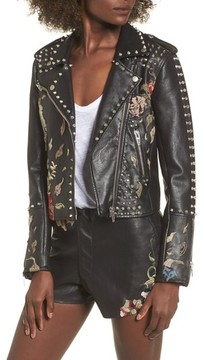 Blank NYC Women's Blanknyc Embroidered Studded Moto Jacket