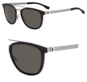 HUGO BOSS BOSS by Men's B0838s Square Sunglasses, Burgundy Ruthenium/Brown Gray, 52 mm