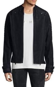 Pierre Balmain Zippered Leather Biker Jacket